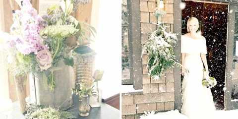 Зимове весілля в стилі рустик: затишний декор засніженого лісу і лілові акценти