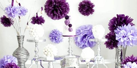 Паперові помпони у весільному декорі: 10 яскравих ідей!