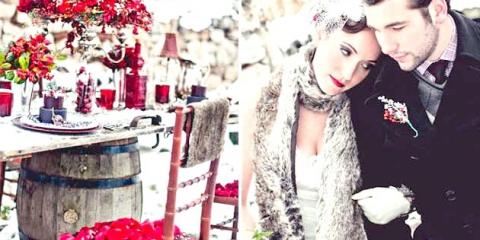Весілля взимку: білий декор розбавляємо насиченим бордо